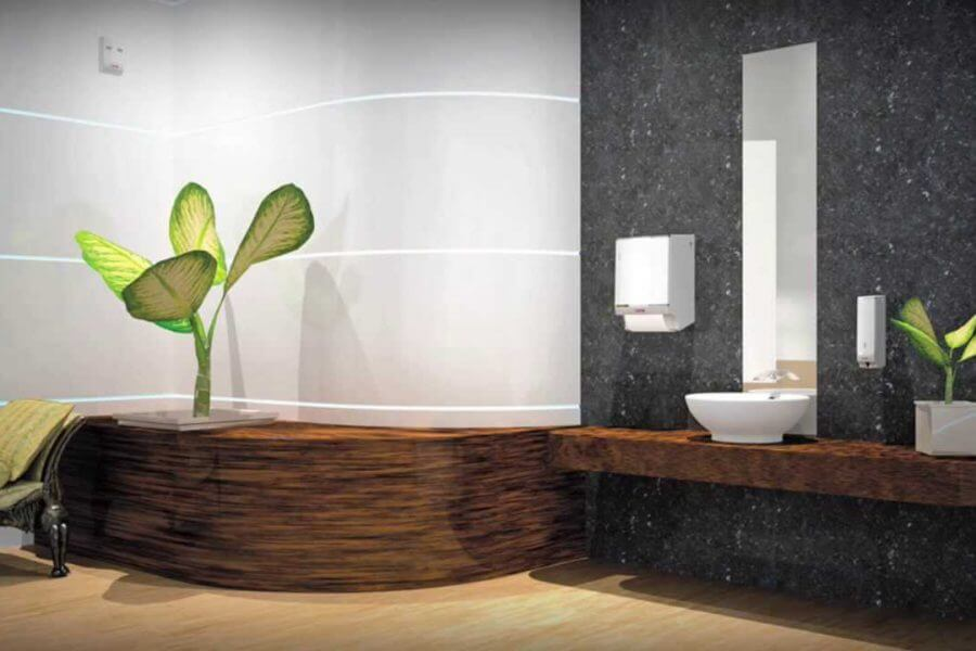 Uitgetekende toiletruimte schilten schoonmaak