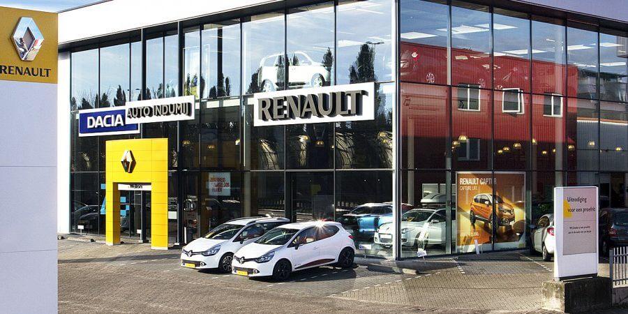 Buiten aanzicht van de Renault showroom van Auto Indumij in Dordrecht