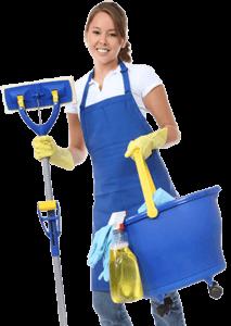 Schoonmaakster met blauw schort, blauwe emmer, blauwe mop, handschoenen en schoonmaakspullen